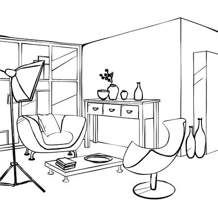 roze bank en een groene stoel in de woonkamer, eenvoudig interieur schets Vector Illustratie