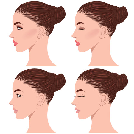 bun: side face of beautiful young woman, bun head Illustration