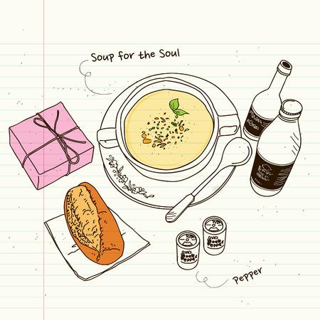 소울, 수프, 빈티지 스케치에 빵을위한 수프 일러스트