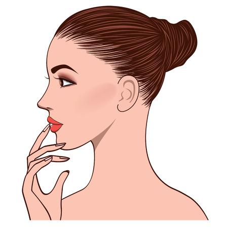 skincare facial: side face of young woman, bun head