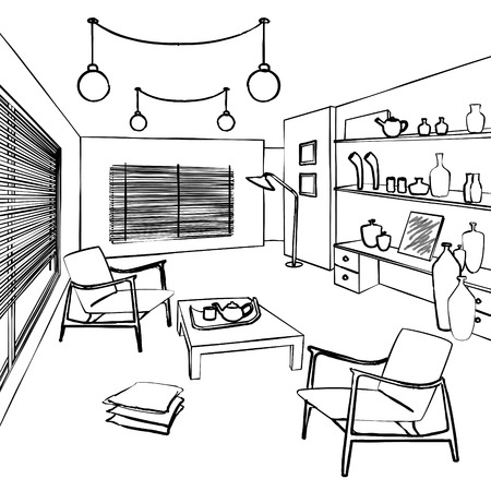 guests: rooms for guests, simple interior sketch Illustration