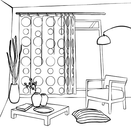 dining room: the dining room curtains, simple interior sketch