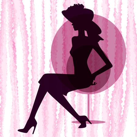 lady silhouette: lady in wide-brimmed hat silhouette