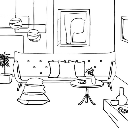 lighting fixtures: red sofa in living room, simple interior sketch