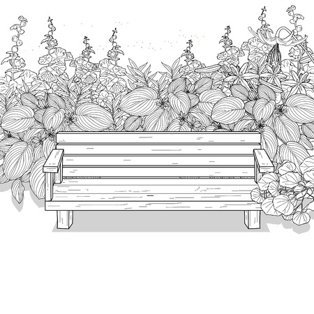 thicket: landscape line drawing sketch, thicket and wood bench