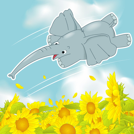 sunflower field: the flying elephant, a sunflower field on the flying elephant Illustration