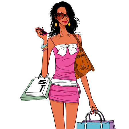 nice girls: shopping girls, shopping bag holding a cell phone with a nice girl Illustration