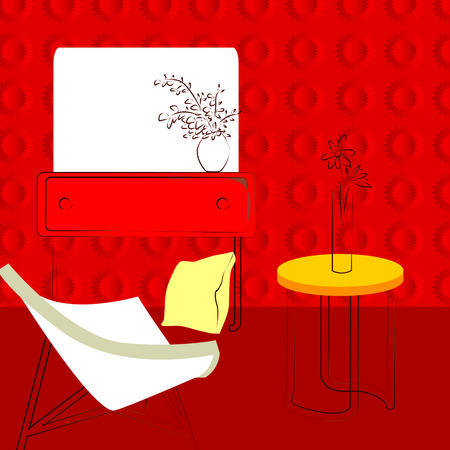 fixtures: red room, simple interior red room