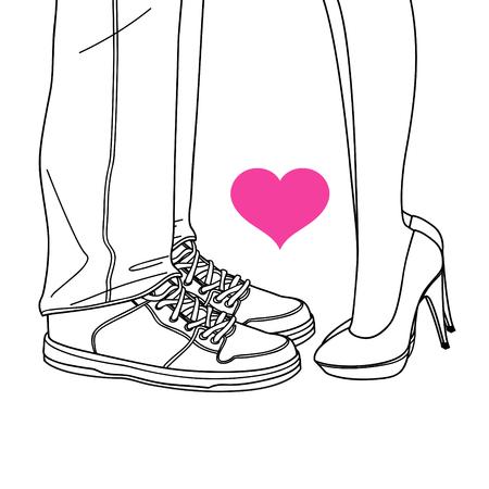 innamorati che si baciano: amante di San Valentino, innamorati che si baciano linea illustrazioni