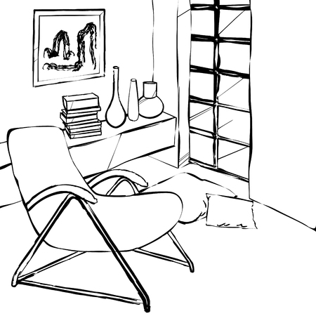 reclining chair: reclining chair in the corner of the room, simple interior sketch Illustration