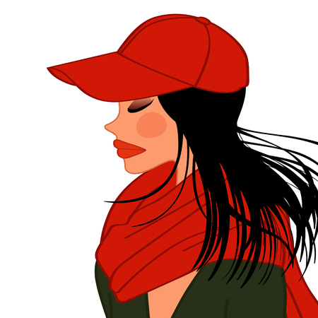 adolescent: cover girl, red hat and muffler for women Illustration