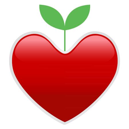 Knospe und Herz, grün sprießen Pflanzen aus roten Herzen