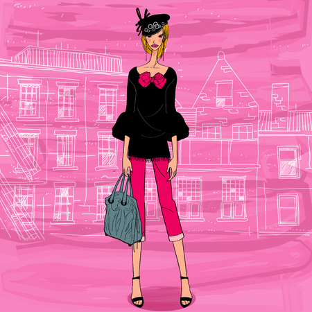 model posing: chic fashion model, young woman wearing black hat, posing above city background Illustration
