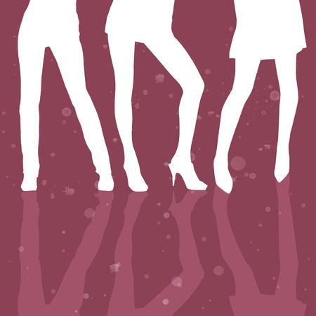 legs heels: three girls sexy legs model Illustration