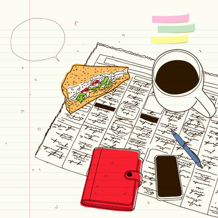 diaries: the newspaper over coffee and sandwiches, diaries and mobile phones Illustration