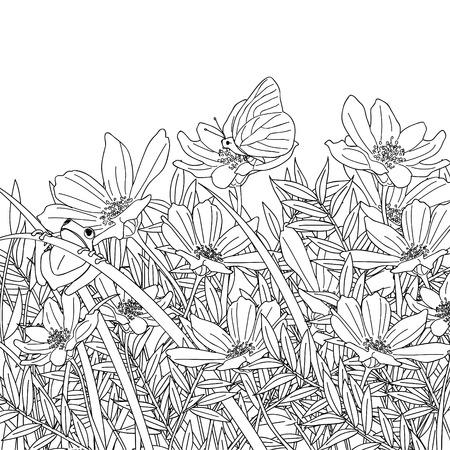 een bloementuin met vlinders en kikkers schets