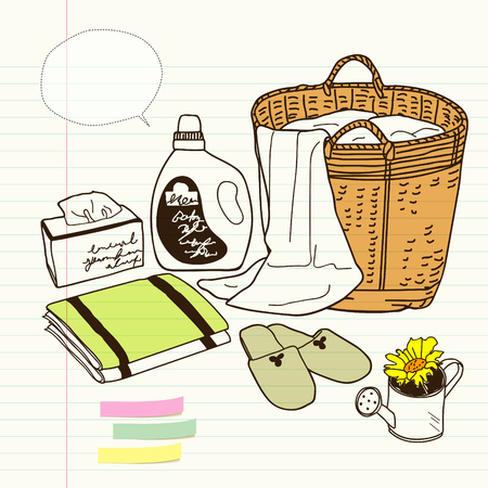 household goods: laundry basket and homeware, still life Illustration