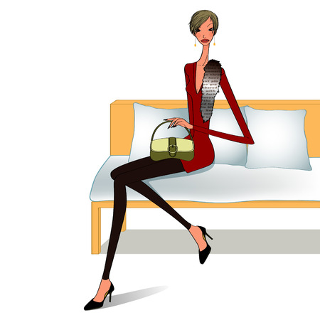 longue: model sitting on a chaise longue, beautiful models Illustration