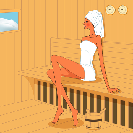Chatter: beautyfull woman relaxing in wooden sauna room