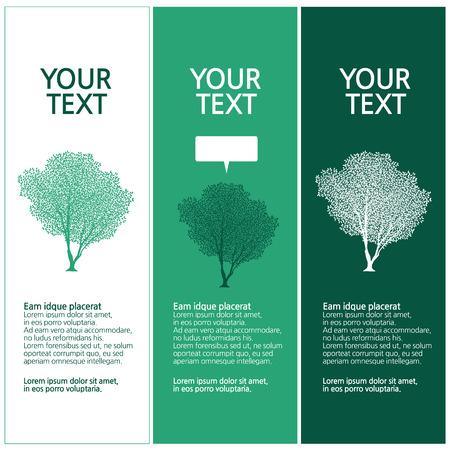 lush trees, tree silhouette design set