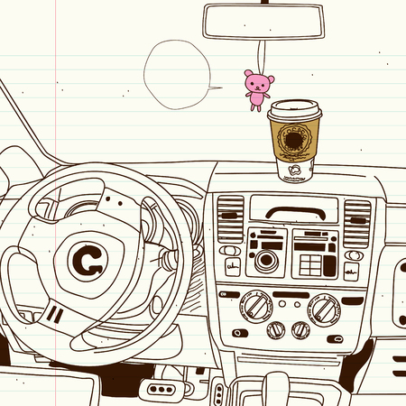 drivers seat: drivers seat inside the car sketch