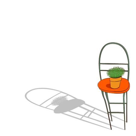 pm: a potted plant is on the chair Illustration