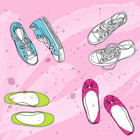 flat shoes: your shoes, my sneakers and flat shoes Illustration