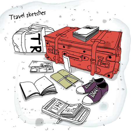 travel bag: travel sketches, travel bag and personal stuff