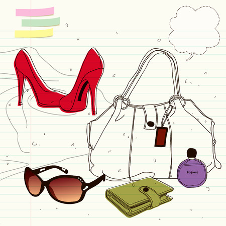 high heels: fashion items, handbags and high heels shopping items Illustration