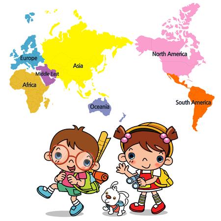 carte du monde et les enfants, nous allons voyager dans le monde