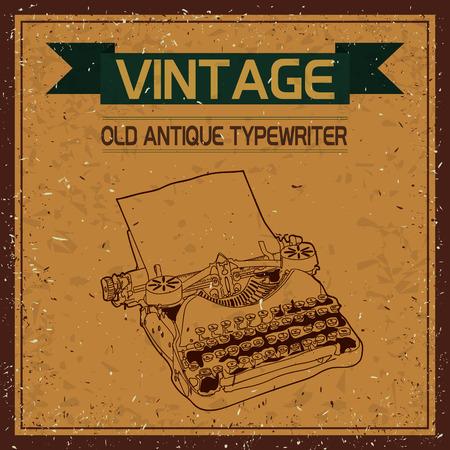 vintage background: vintage typewriter sketch,  vintage background
