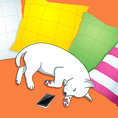 sleeping dog, sleeping dog on a cushion Illustration