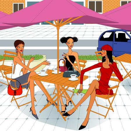 womens brunch, three beautiful women sitting in a outdoor restaurant