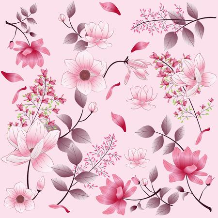 beautiful vintage flower pattern on pink background Vettoriali