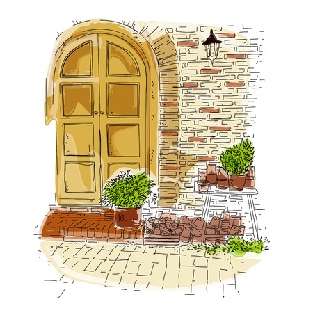 old town elements vintage style sketch vector illustration, sketch of old town 写真素材 - 126371382