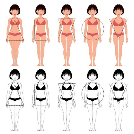 set of five different types of female body shapes