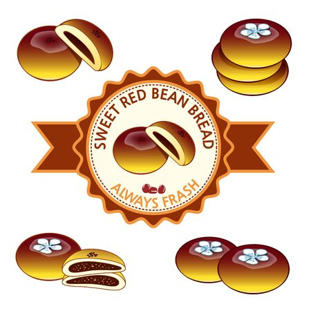 sweet red bean bread Ilustrace