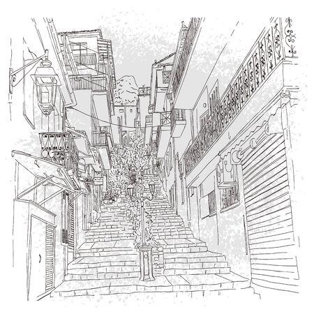old town european street in hand drawn line sketch style, Village of Delphi, Greece