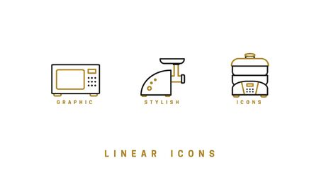 Set of outline vector home appliances icons for web design in simple linear style isolated on white background  イラスト・ベクター素材