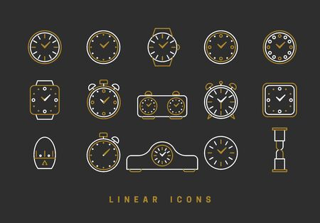 Icons clock linear style. Time icon vector graphic Illustration