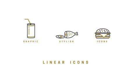 Food icons in linear style. icon burger, meat dish, soda drink vector graphic. Ilustração