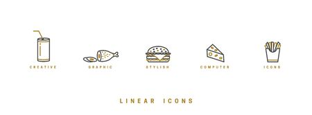 Food icons in linear style. icon burger, meat dish, soda drink, triangular cheese and french fries vector graphic.