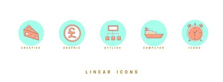 Set of outline vector icons for web design in simple linear style isolated on white background. Ilustração