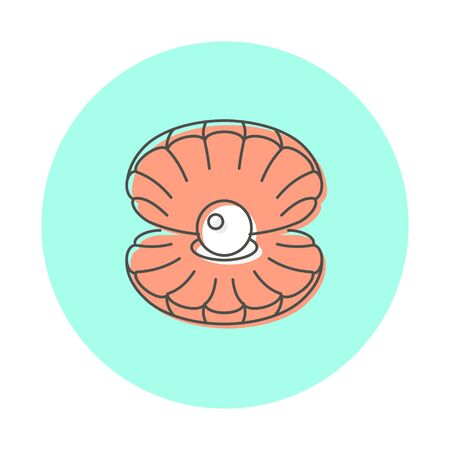 Icon marine theme, shell with pearls. Line logo style, website design element