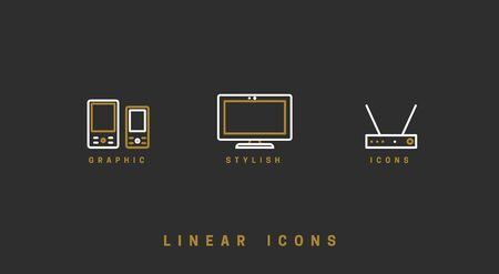 Technology vector linear icon, gadgets, set devices