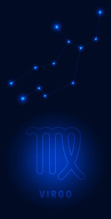 Virgo constellation. Bright glowing stars with the name and sign on a blue background night lighting. Star map Vector.