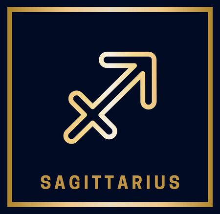 Sign of the zodiac. Sagittarius. Horoscope. Isolated golden symbol on a blue background with a golden inscription. Vector illustration