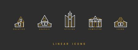 Icons houses, high-rise buildings in linear style. Architectural structure of home skyscrapers icon vector graphic