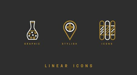 Set of outline vector medical icons for web design in simple linear style isolated on black background.