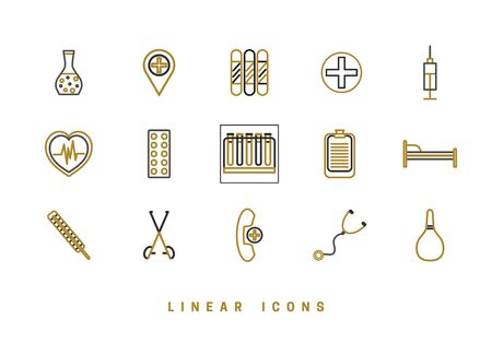 Set of outline vector medical icons for web design in simple linear style isolated on white background.